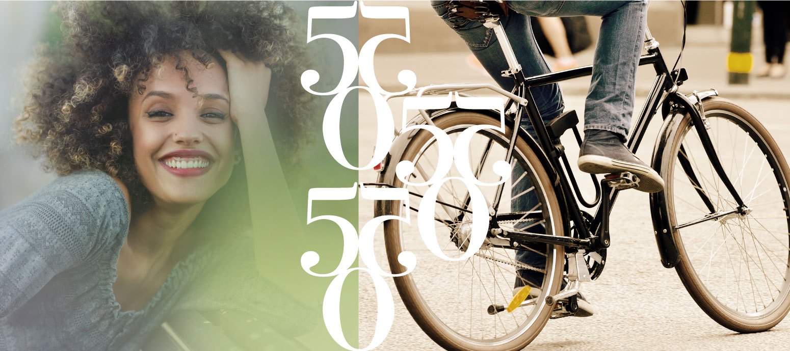 550 Banner with Woman Smiling and Biker