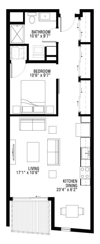1 Bedroom Apartment with Lots of Closet Space Floor Plan