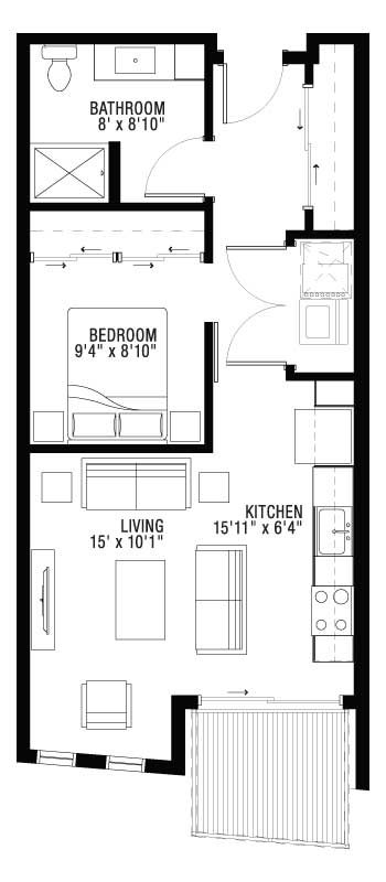Balcony for 1 Bedroom Ultra Loft Apartment Floor Plan