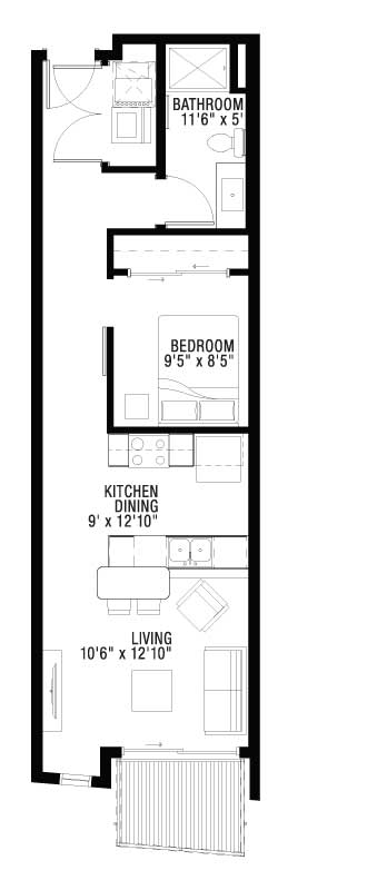 1 Bed and Bath Apartment with Balcony Floor Plan
