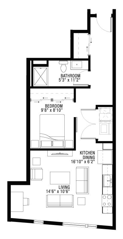 1 Bed 1 Bath Large Living and Kitchen Area Floor Plan