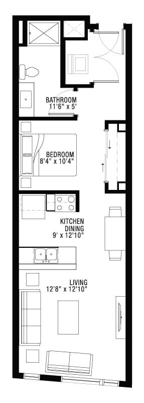 1 Bed Hallway Style Open Bedroom Floor Plan