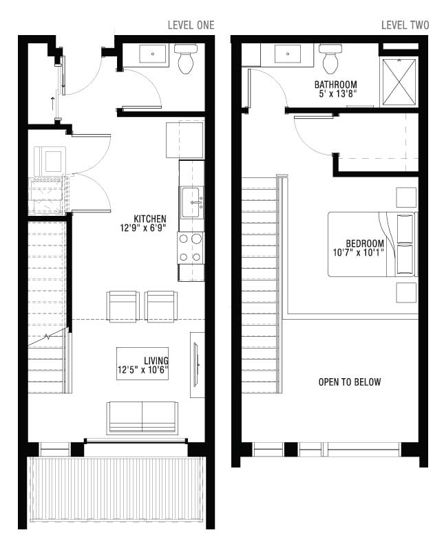 2 Floor 1 Bedroom Apartment Floor Plan