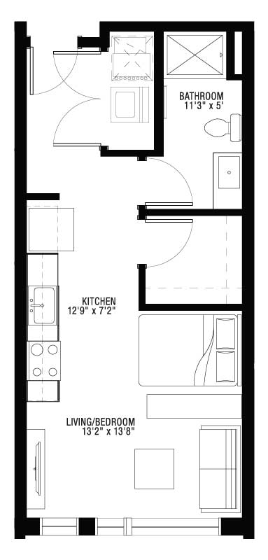 1 Bedroom Studio Style with Washer Dryer Floor Plan