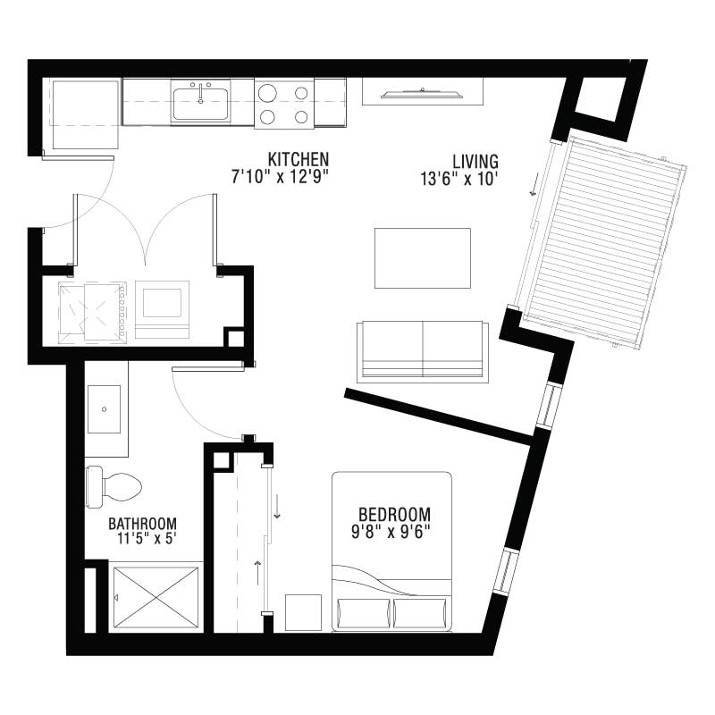 1 Bedroom Apartment Open Spaced Floor Plan