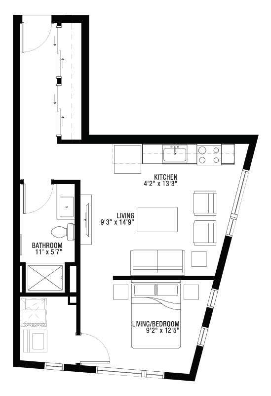 1 Bedroom Apartment Hallway Entrance Floor Plan