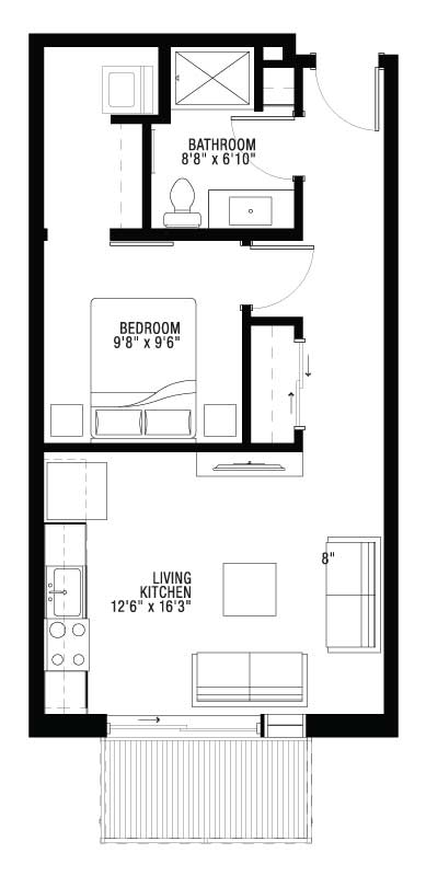 1 Bedroom Ultra Lofts with Balcony Floor Plan