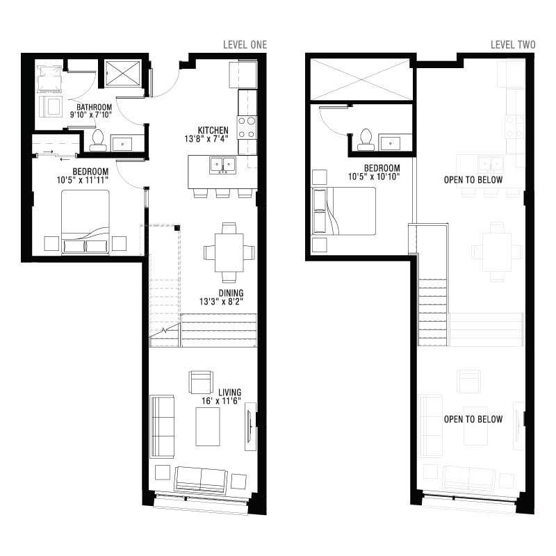 2 Floor 2 Bedroom Apartment at Ultra Lofts Floor Plan
