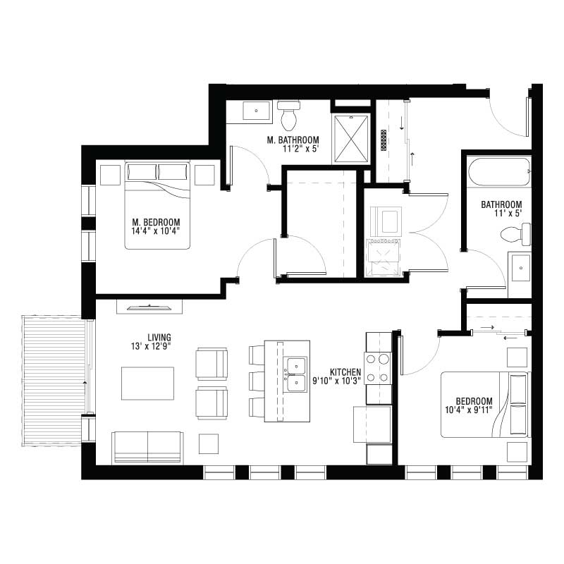 Master Bedroom and 2nd Bedroom Apartment Floor Plan
