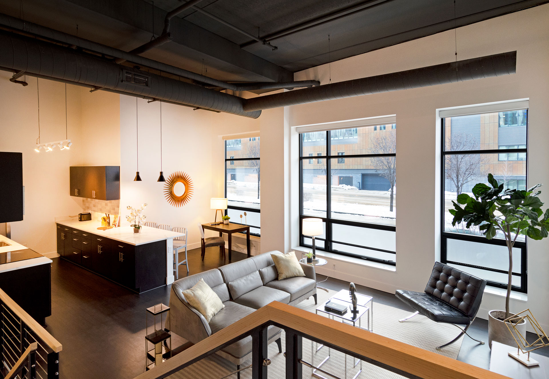 Three Large windows in Ultra Loft Apartment